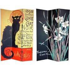 72 x 48 Double Sided Chat Noir 3 Panel Room Divider by Oriental Furniture
