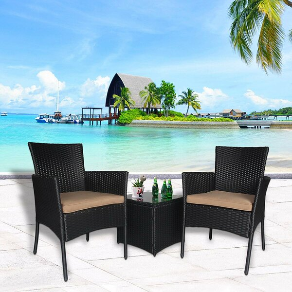 Durrant 3 Piece Rattan Seating Group with Cushions by Bay Isle Home