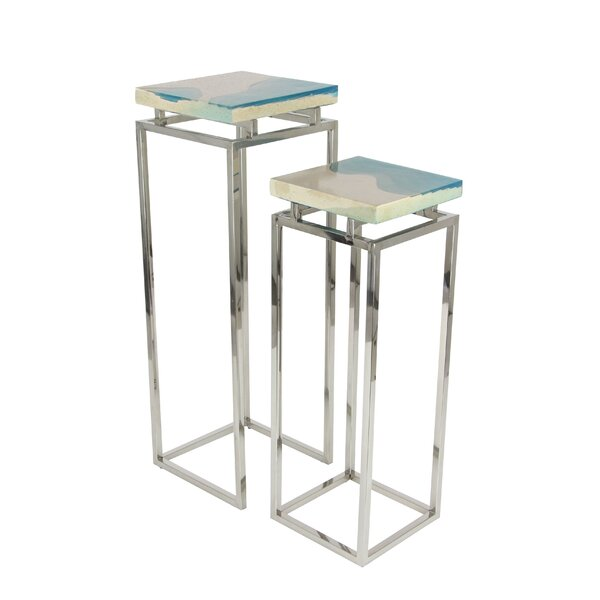 Stainless Steel/Polystone Pedestal 2 Piece Pub Table Set by Cole & Grey