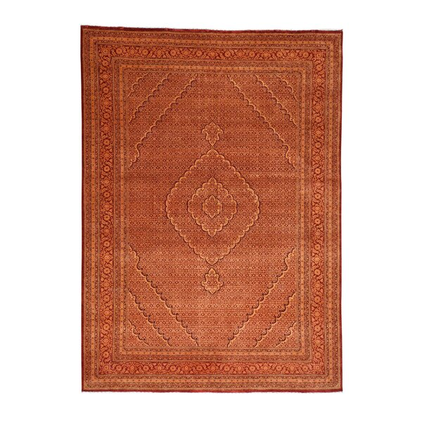 One-of-a-Kind Flemings Tabriz Mahi Hand-Knotted Silk Red Area Rug by World Menagerie