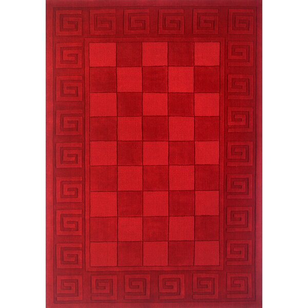 Eli Hand-Tufted Wool Burgundy Area Rug by Winston Porter