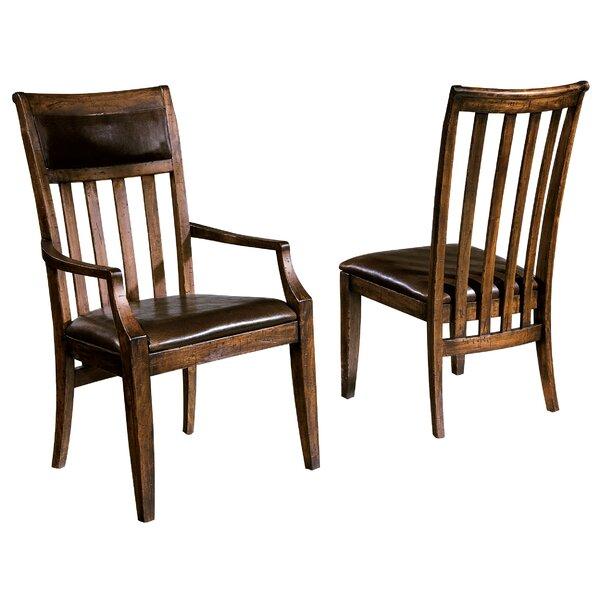 Montanez Upholstered Slat Back Side Chair in Rustic Hardwood by Longshore Tides Longshore Tides