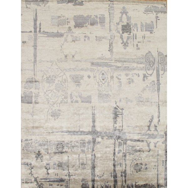Modern Hand-Knotted Ivory Area Rug by Pasargad