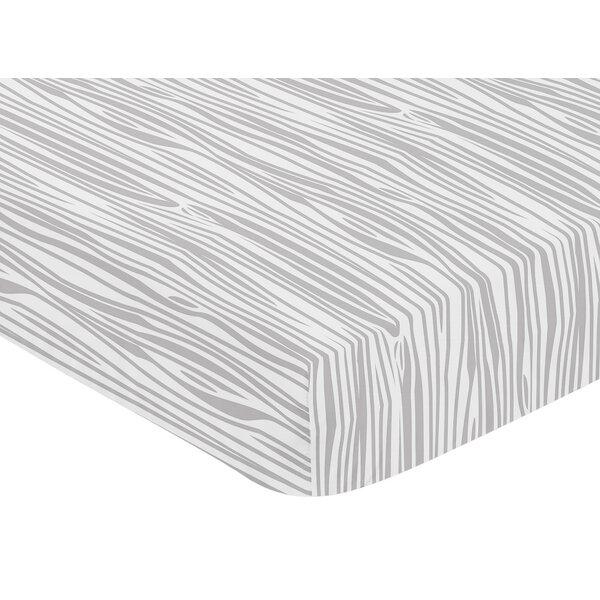 Woodland Animals Wood Grain Print Fitted Crib Sheet by Sweet Jojo Designs