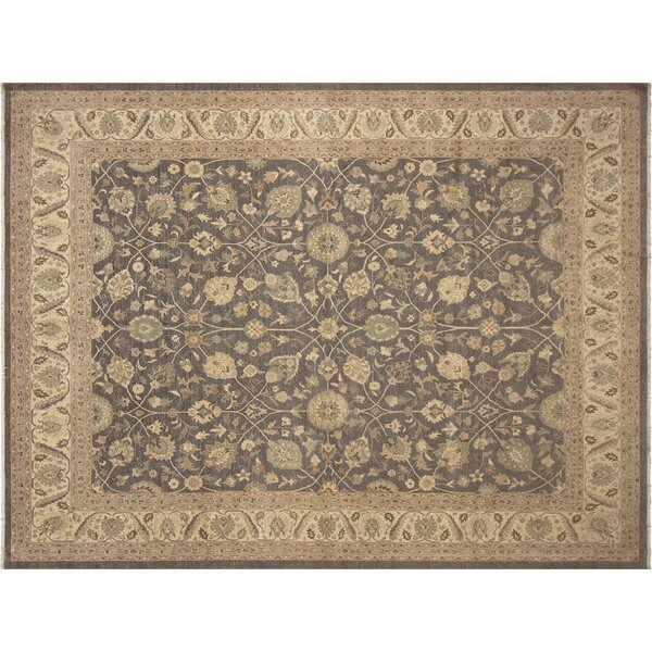 Xenos Hand-Knotted Rectangle Wool Gray/Ivory Area Rug by Astoria Grand