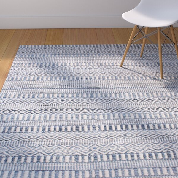 Firenze Hand-Woven Wool Ivory/Blue Area Rug by Langley Street