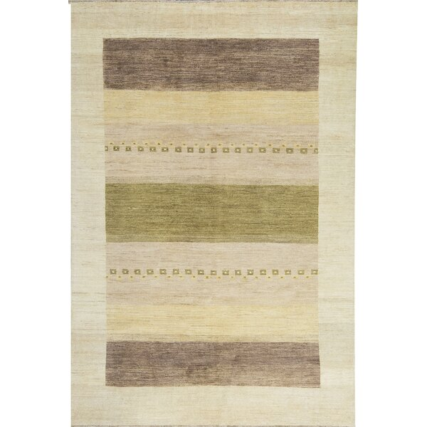 Gabbeh One-of-a-Kind Hand-Knotted Wool Beige Area Rug by Bokara Rug Co., Inc.