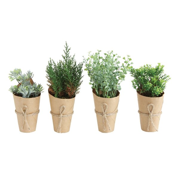 4 Piece Artificial Indoor Mini Desktop Plants in Paper Wrapped Pot by Gracie Oaks