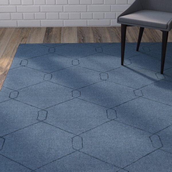 Hinkel Hand-Loomed Teal Area Rug by Wrought Studio