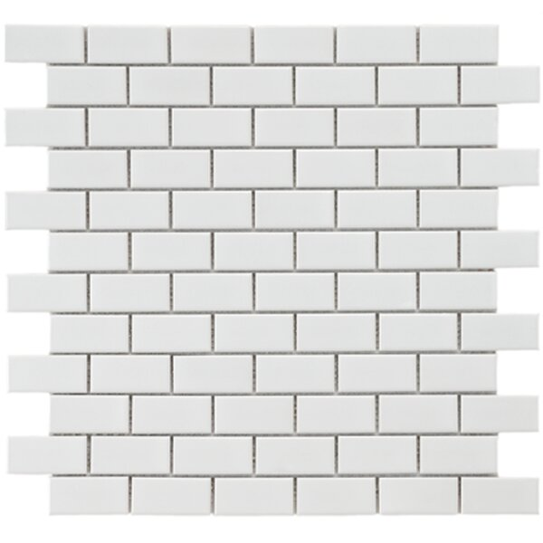 Retro 0.88 x 1.875 Porcelain Mosaic Tile in Glossy White by EliteTile