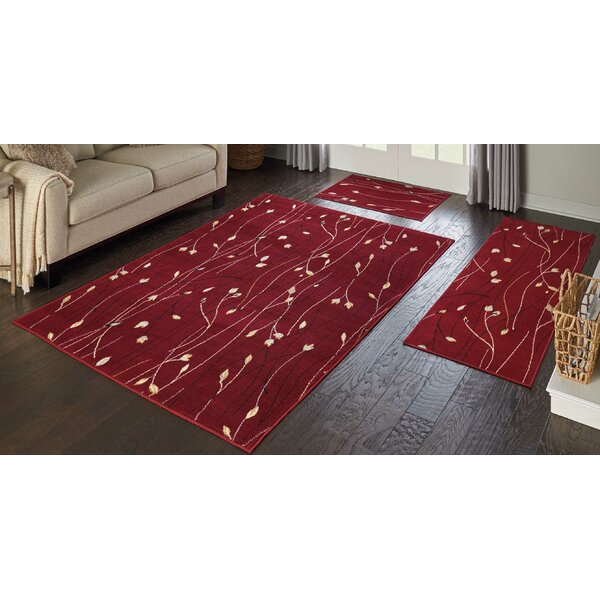 Trumbull 3 Piece Red Area Rug Set by Andover Mills