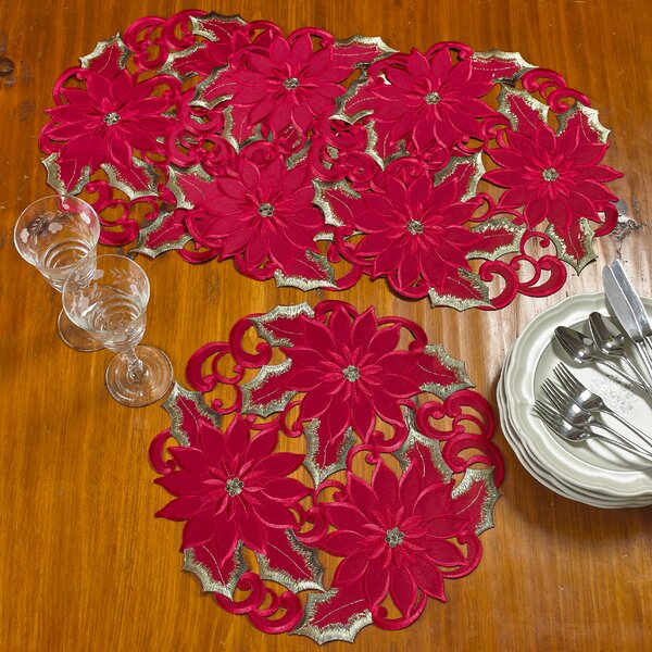 Delsur Poinsettia Handmade Embroidered Cutwork Round 16 Placemat (Set of 4) by The Holiday Aisle