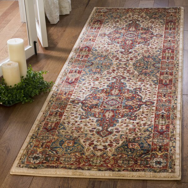 Kurtz Traditional Ivory/Blue Area Rug by World Menagerie