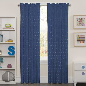 Patrice Graphic Print & Text Blackout Thermal Rod Pocket Single Curtain Panel