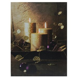 'LED Lighted Shimmering Gold Glittered Candles Christmas' Graphic Art Print on Canvas by Mercer41