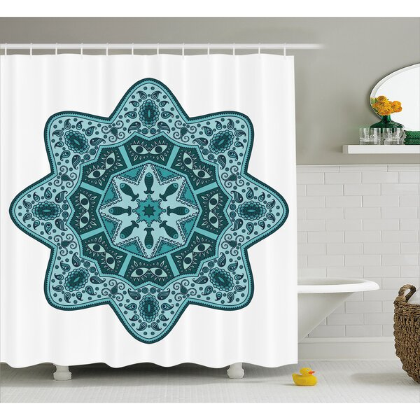 Leah Mandala Eastern Chinese Lace Mandala With Inner Eye Fish and Paisley Figures Artwork Shower Curtain by Ebern Designs