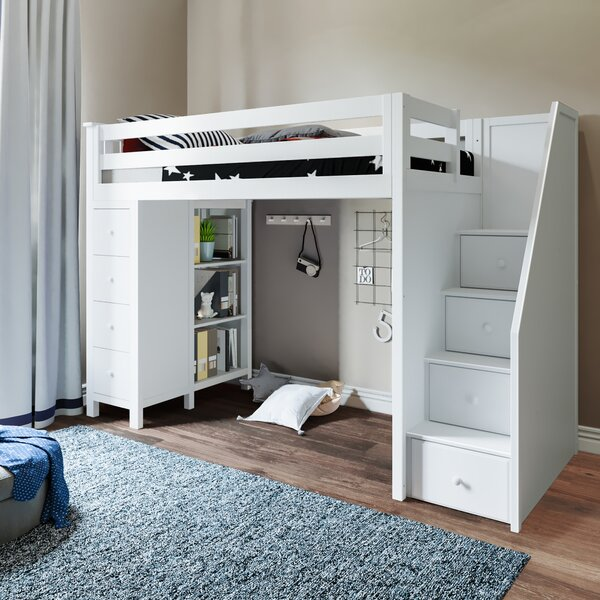 Ayres Twin Loft Bed with Drawers and Shelves by Harriet Bee