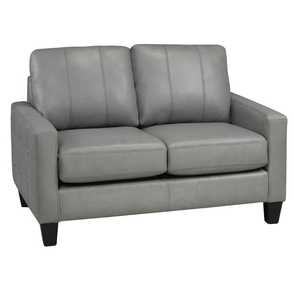 Eilish Genuine Leather Loveseat By 17 Stories