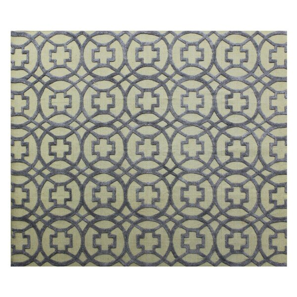 Windsor Hand-Woven Wool Beige/Blue Area Rug by Exquisite Rugs