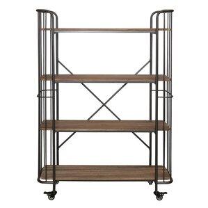 Alexsa 4 Tier Wood Shelf Metal Bar Cart by 17 Stories