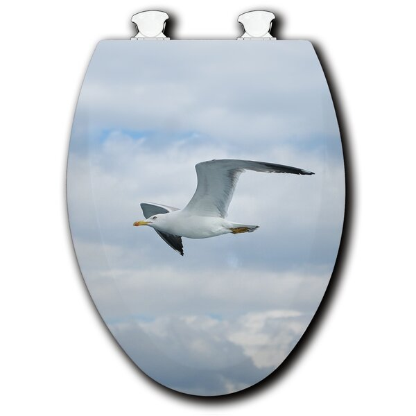 Seagull in Flight White Elongated Toilet Seat