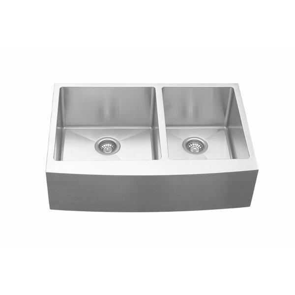 33 L x 22 W Double Basin Farmhouse Kitchen Sink