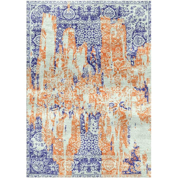 Aliza Handloom Rust/Blue Area Rug by Bungalow Rose