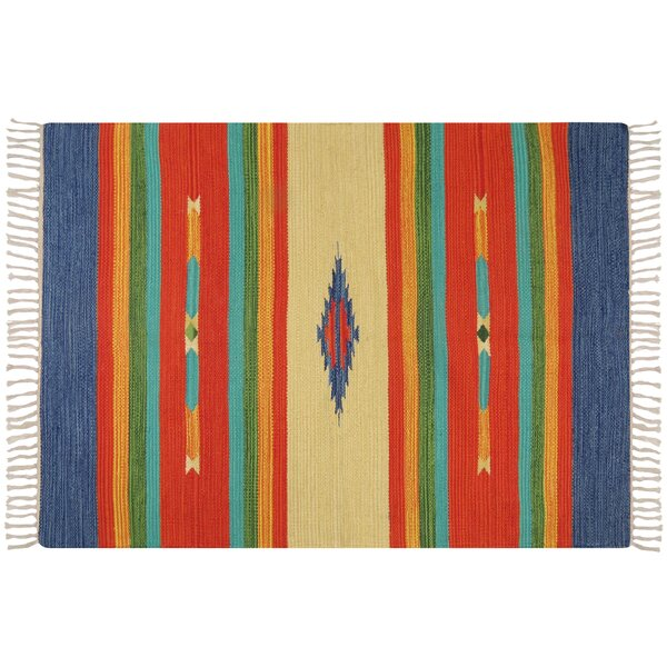 Hutcherson Hand-Woven Cotton Red/Blue Area Rug by Bloomsbury Market