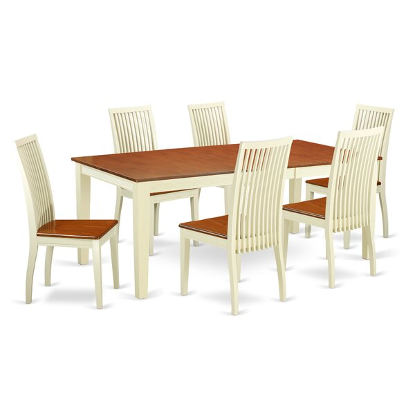 Pilger 7 Piece Solid Wood Dining Set by August Grove
