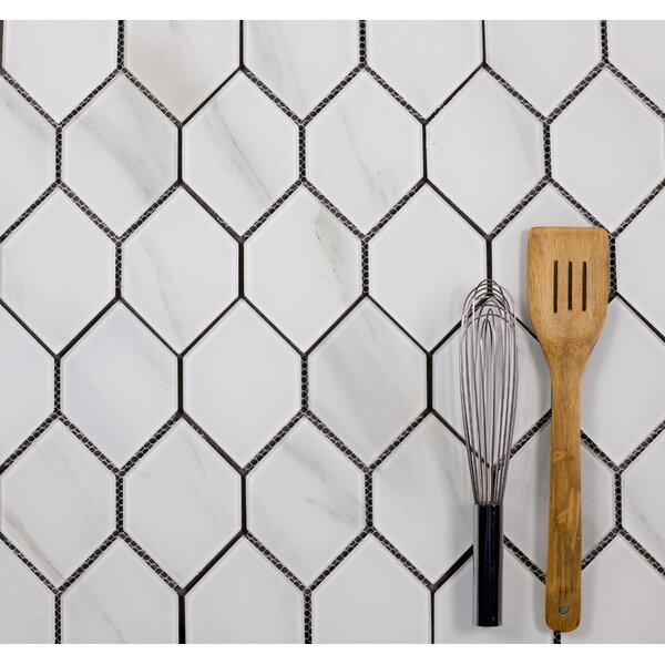Nature Honeycomb 3.5 x 5.13 Glass Mosaic Tile in Calacatta White/Gray veins by Abolos