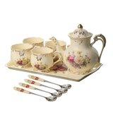 Ivory Ceramic Tea Set,Porcelain Tea Cups Set,Tea Party Service Set For Adults