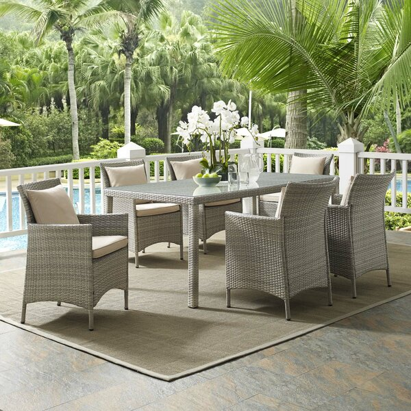 Solomon 7 Piece Dining Set with Cushions by Bayou Breeze