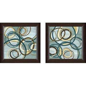 'Blue Tuesday I' 2 Piece Framed Print Set on Glass by Ivy Bronx