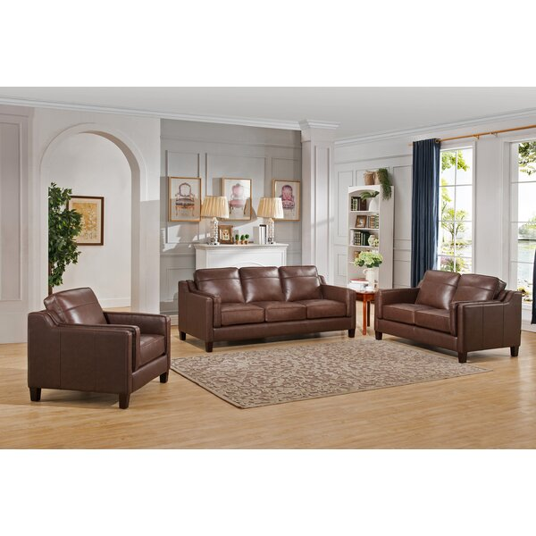 Katherine Leather 3 Piece Living Room Set by Red Barrel Studio