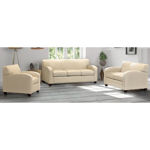 Lamatan Cream Top Grain Leather Sofa Bed, Loveseat And Chair By Ebern Designs