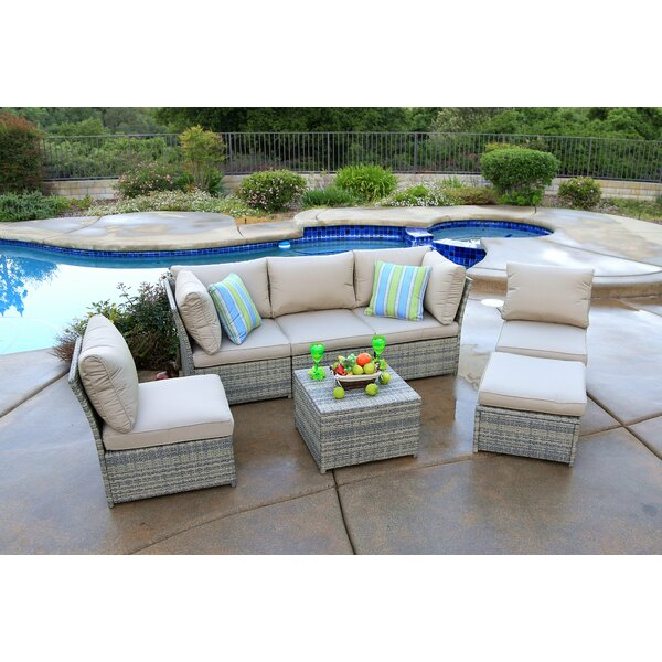 Burrill 7 Piece Sectional Seating Group with Cushions by Alcott Hill