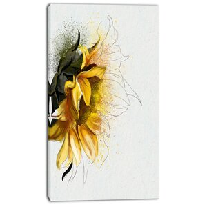 'Bright Yellow Sunflower Illustration' Painting Print on Wrapped Canvas by Design Art