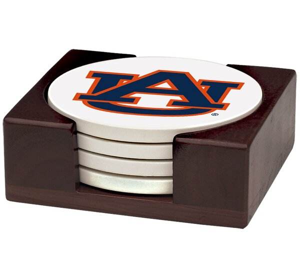 5 Piece Auburn University Wood Collegiate Coaster Gift Set by Thirstystone