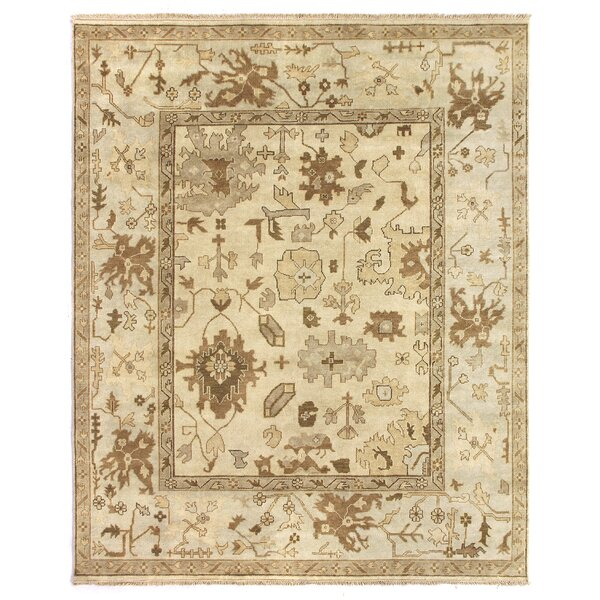 Oushak Hand Woven Wool Ivory/Pale Blue Area Rug by Exquisite Rugs