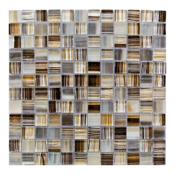 Handicraft 1 x 1 Glass Mosaic Tile in Beige Orange by Abolos