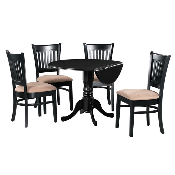 #1 Ansonia 5 Piece Drop Leaf Solid Wood Dining Set In Black/Brown By August Grove Coupon