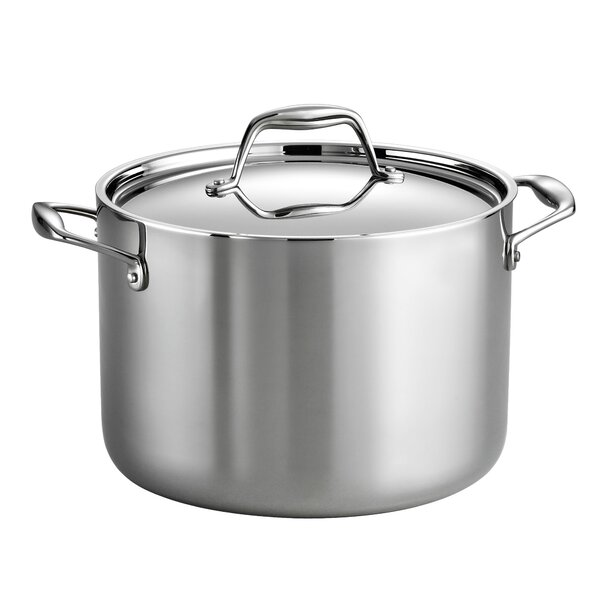 Gourmet Tri-Ply Clad 8 Qt. Stock Pot with Lid by Tramontina