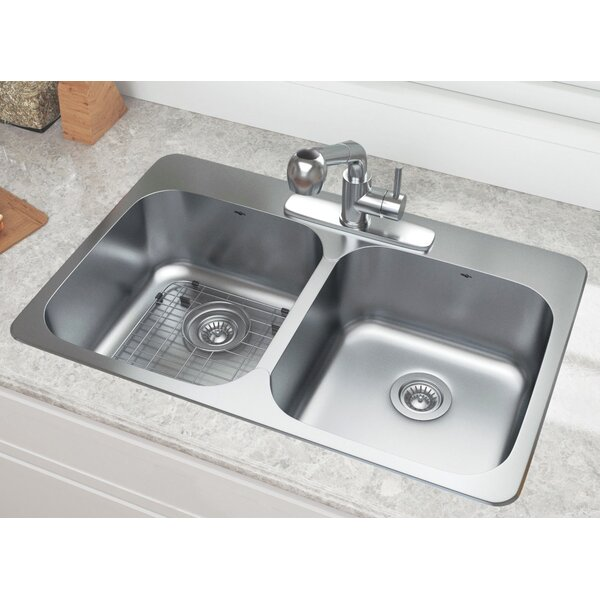 Capri 31.6 L X 20.5 W Double Basin Drop-In Kitchen Sink with Faucet by Ancona
