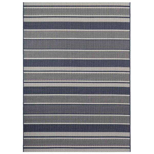 Brantley Bold Strips Navy Indoor/Outdoor Area Rug by Highland Dunes