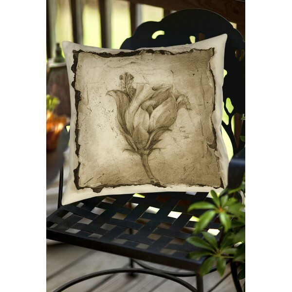 Floral Impression 8 Indoor/Outdoor Throw Pillow by Manual Woodworkers & Weavers
