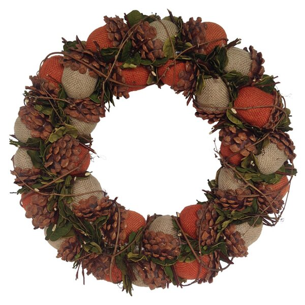 Acorn Burlap Wreath by Mills Floral