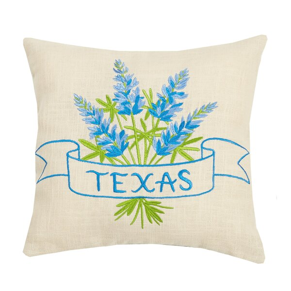 Tiberius Texas Blue Bonnet Embroidered Throw Pillow by August Grove