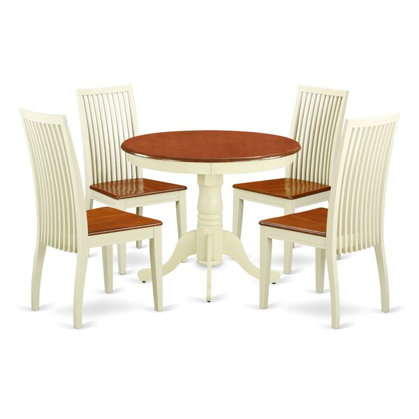 Brendan 5 Piece Breakfast Nook Solid Wood Dining Set by August Grove