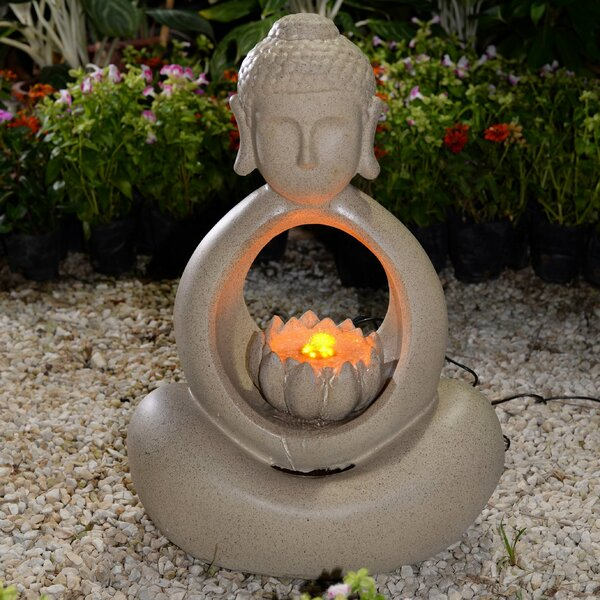 Resin/Fiberglass Buddha Fountain with LED Light by Jeco Inc.