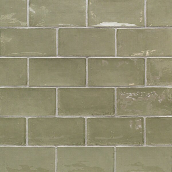 Catalina 3 x 6 Porcelain Subway Tile in Kale by Splashback Tile